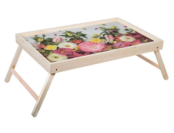 """Столик для завтрака """"Цветы"""" 52x33 см массив дерева, натуральный KD-034-106"""
