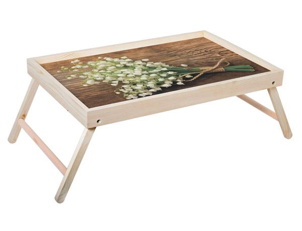 """Столик для завтрака """"Ландыши"""" 52x33 см массив дерева, натуральный KD-034-108"""