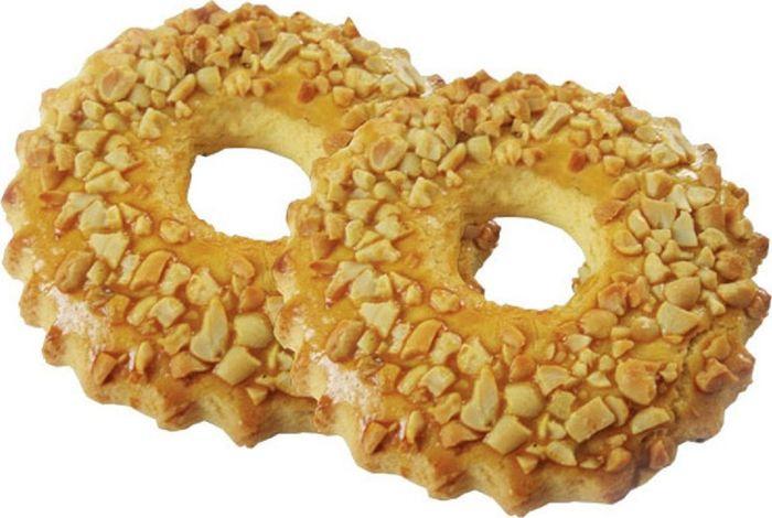 Печенье Хлебное Местечко Песочное кольцо, сдобное, с арахисом, 250 г