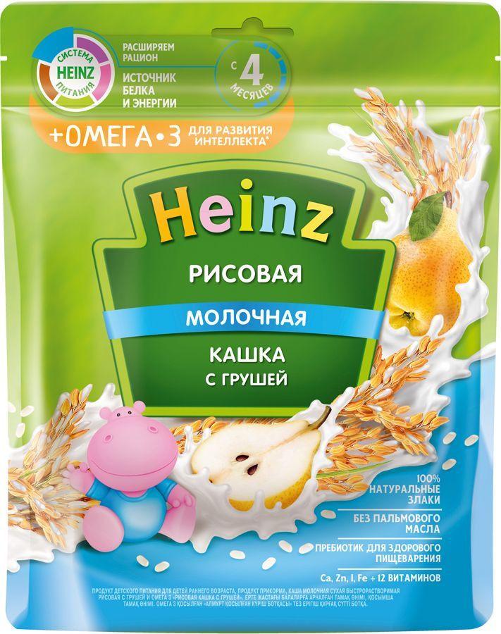 Каша Heinz молочная рисовая с грушей с Омега 3, с 4 месяцев, 200 г