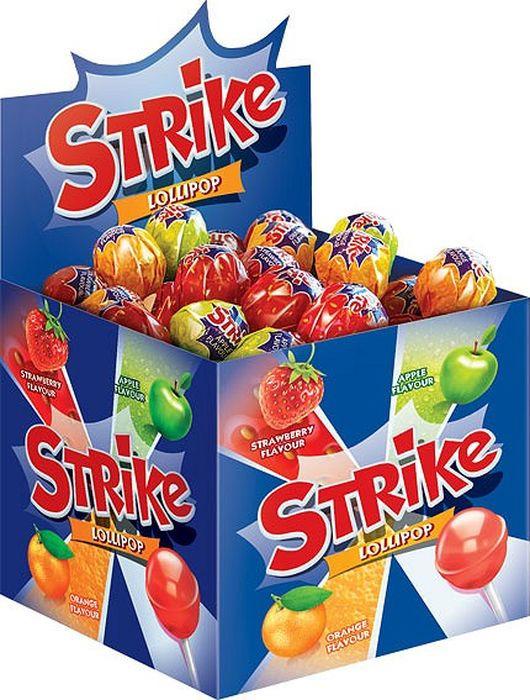 Конфеты Strike Карамель на палочке, ассорти, 50 шт по 11,3 г жевательные конфеты cloetta chewits со вкусом клубники 24 шт по 29 г