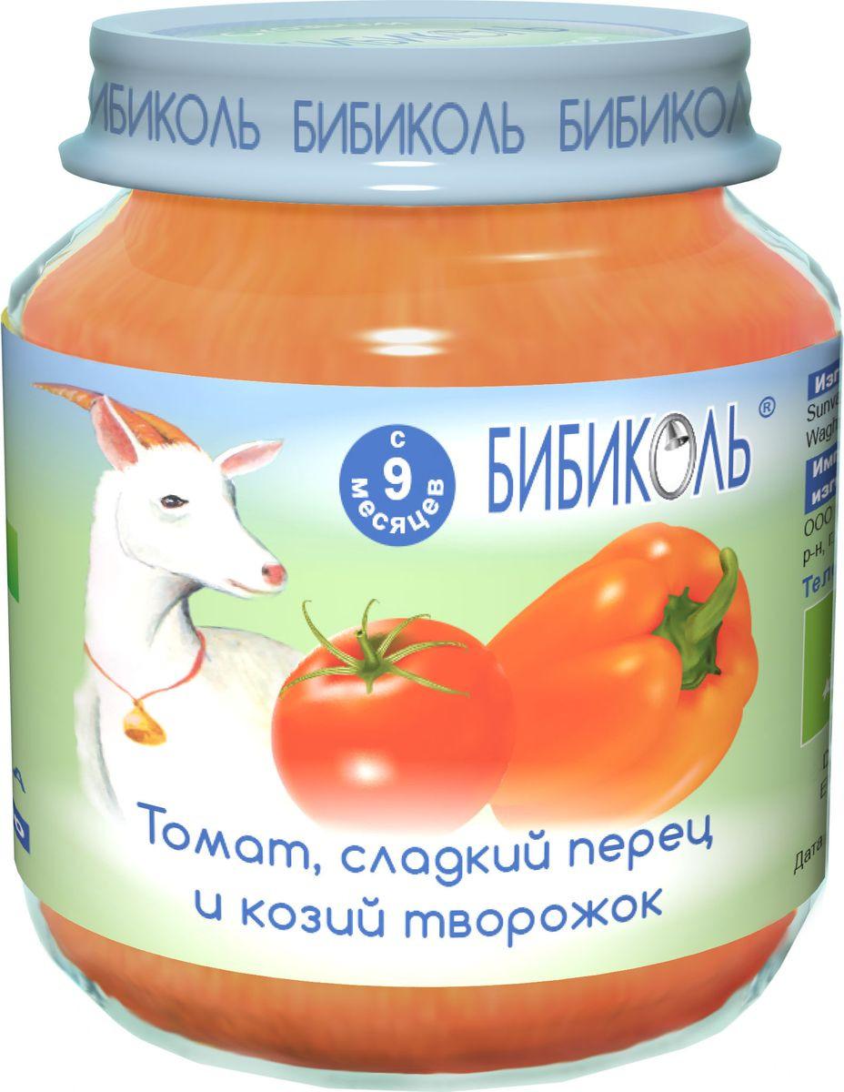 Пюре Бибиколь томат, сладкий перец и козий творожок, стеклянная банка, 125 г бибиколь банан яблоко и козий творожок пюре с 6 мес 80 г