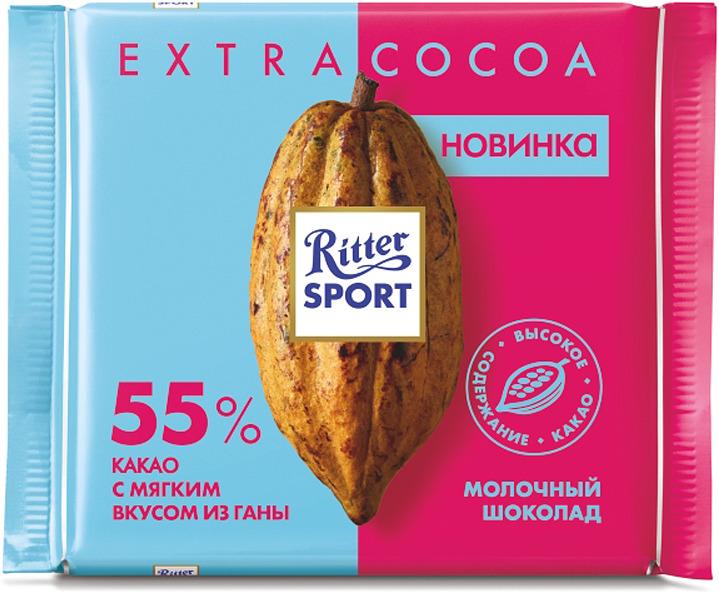 Шоколад молочный Ritter Sport 55% какао, с мягким вкусом из Ганы, 100 г шоколад молочный ritter sport ром орех изюм 100 г