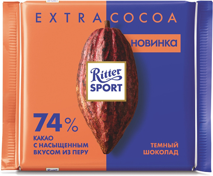 Шоколад темный Ritter Sport 74% какао, с насыщенным вкусом из Перу, 100 г шоколад ritter sport 646316