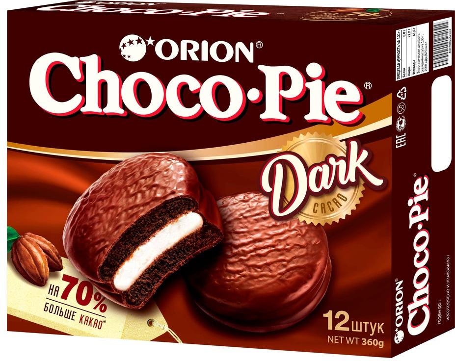 Пирожное Choco-Pie Dark, в шоколадной глазури, 360 г
