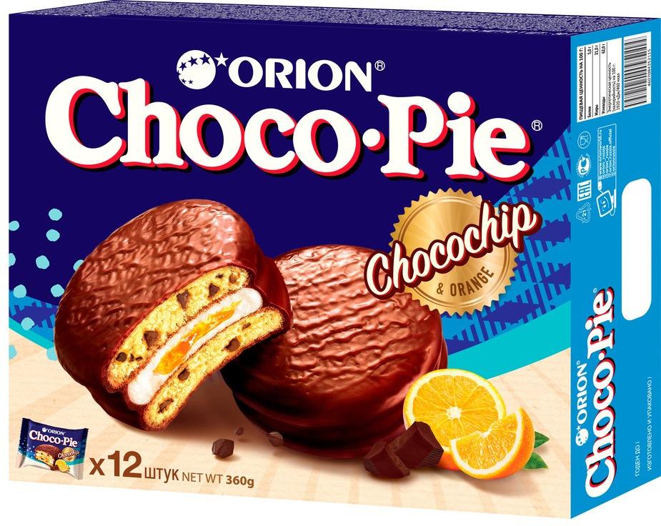 Пирожное Choco-Pie ChocoChip, c апельсиновым джемом и шоколадной крошкой, 360 г