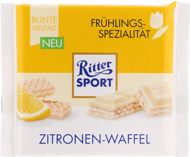 Шоколад белый Ritter Sport Вафля с лимоном, с лимонно-кремовой начинкой, 100 г ritter sport мята шоколад темный с мятной начинкой 100 г