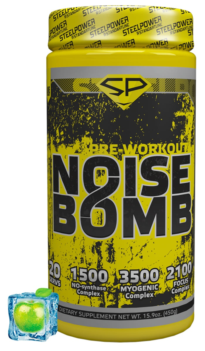 SteelPower Nutrition / Предтренировочный комплекс Noise Bomb, 450 г, Яблоко