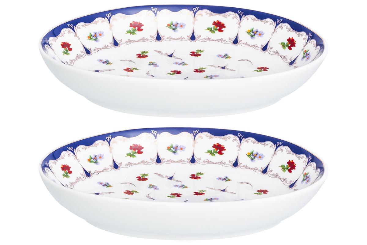 Блюдо Elan Gallery Цветочек, белый, синий, красный цена в Москве и Питере