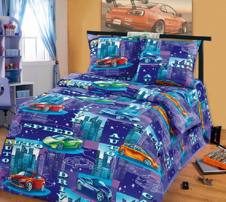 Детский комплект постельного белья ТК Традиция ДайПоспать, для сна и отдыха, синий, фиолетовый