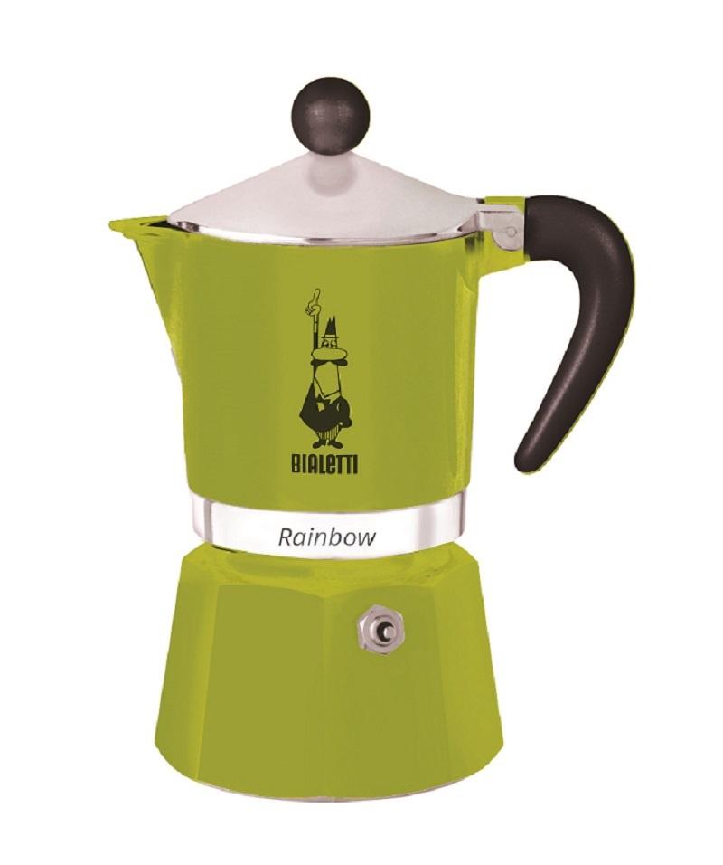 Гейзерная кофеварка Bialetti Rainbow, зеленый гейзерная кофеварка bialetti fiametta 5352 фиолетовый