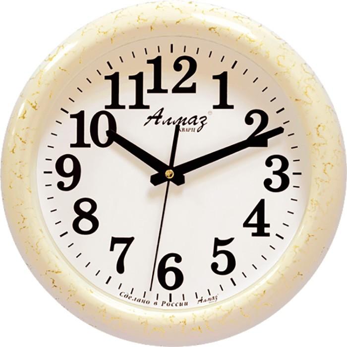 """Настенные часы Алмаз H10H10Настенные кварцевые часы """"Алмаз"""" прекрасное дополнение вашего интерьера. Часы изготовлены из качественного пластика, циферблат защищен прочным стеклом. Часы имеют бесшумный плавный ход и работают от одной батарейки типа АА."""