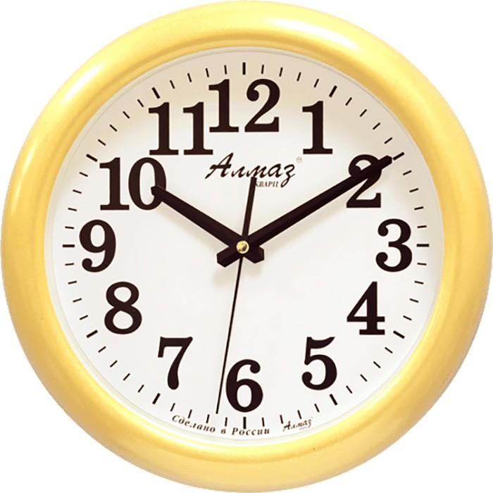 """Настенные часы Алмаз H19H19Настенные кварцевые часы """"Алмаз"""" прекрасное дополнение вашего интерьера. Часы изготовлены из качественного пластика, циферблат защищен прочным стеклом. Часы имеют бесшумный плавный ход и работают от одной батарейки типа АА."""