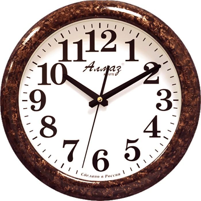"""Настенные часы Алмаз H23H23Настенные кварцевые часы """"Алмаз"""" прекрасное дополнение вашего интерьера. Часы изготовлены из качественного пластика, циферблат защищен прочным стеклом. Часы имеют бесшумный плавный ход и работают от одной батарейки типа АА."""