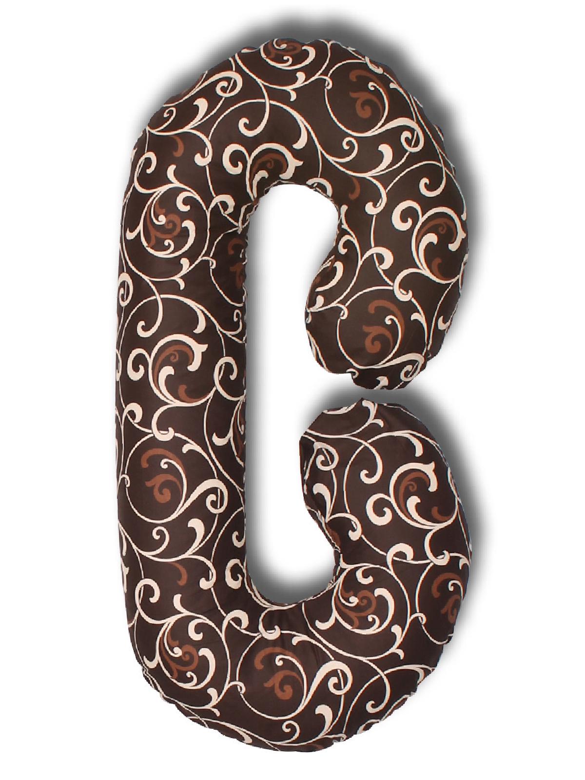 Подушка для кормящих и беременных Body Pillow форма С вензеля, шоколадный