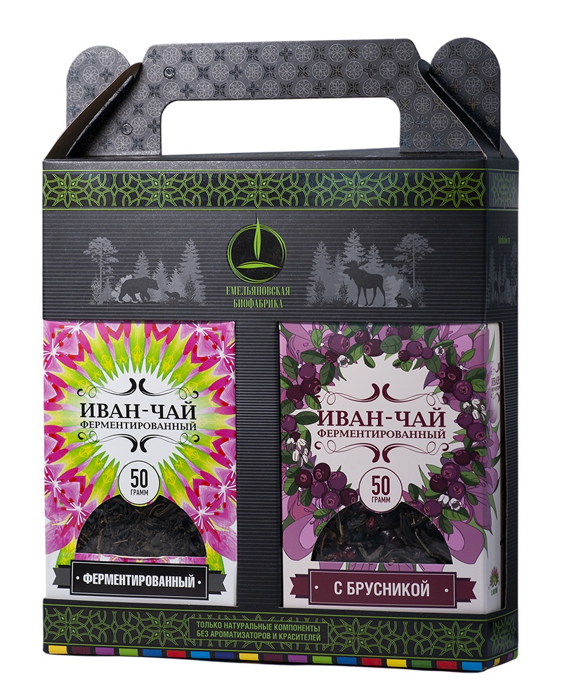 Подарочный набор Иван-чай и Иван-чай с Брусникой 2х50 гр.