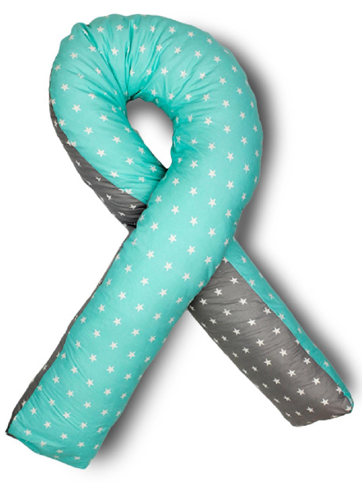 Подушка для кормящих и беременных Body Pillow форма U звезды комби, пенополистирол, серый, лазурный