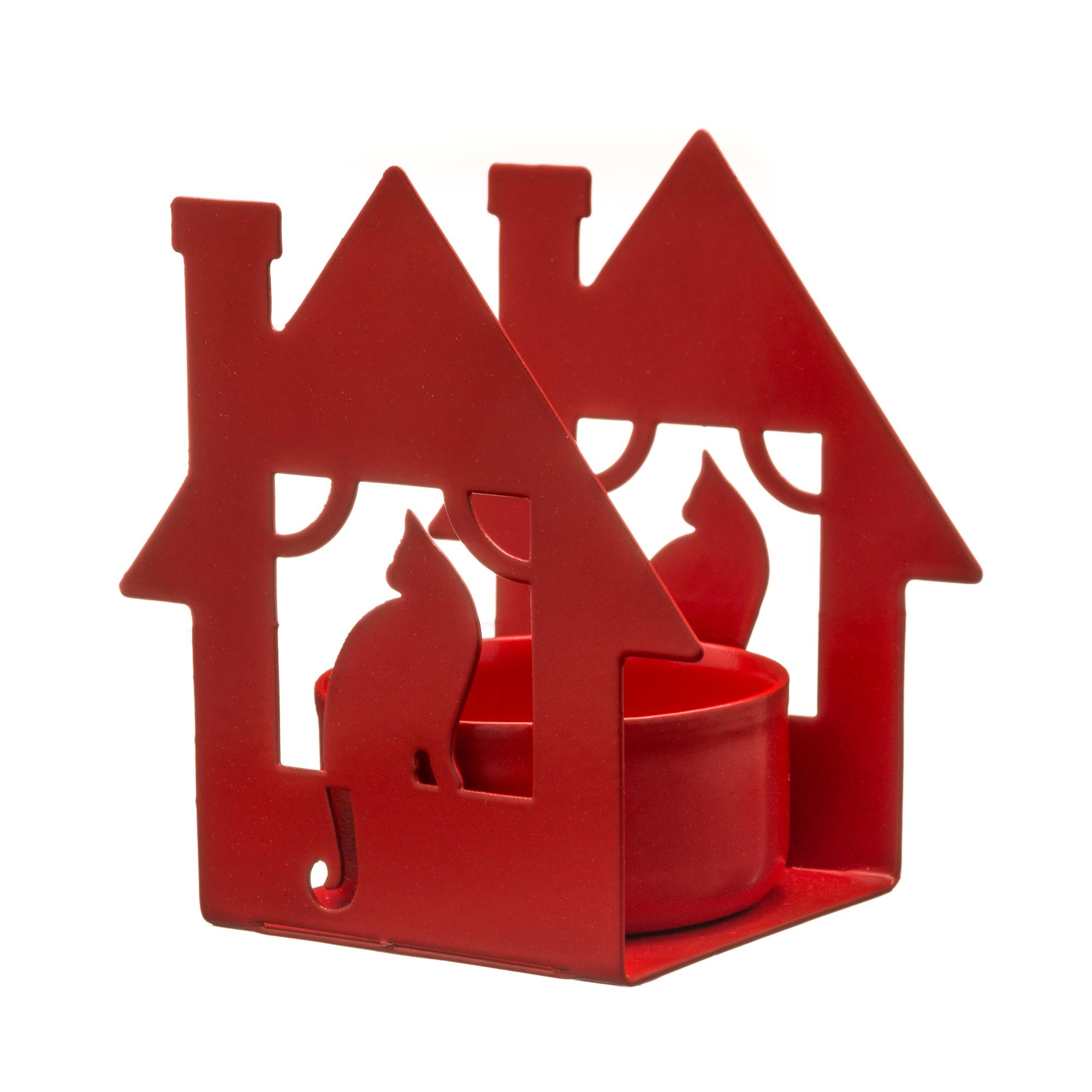 Подсвечник GALA домик с кошкой, красный bs 557 подсвечник домик подарков 1146458