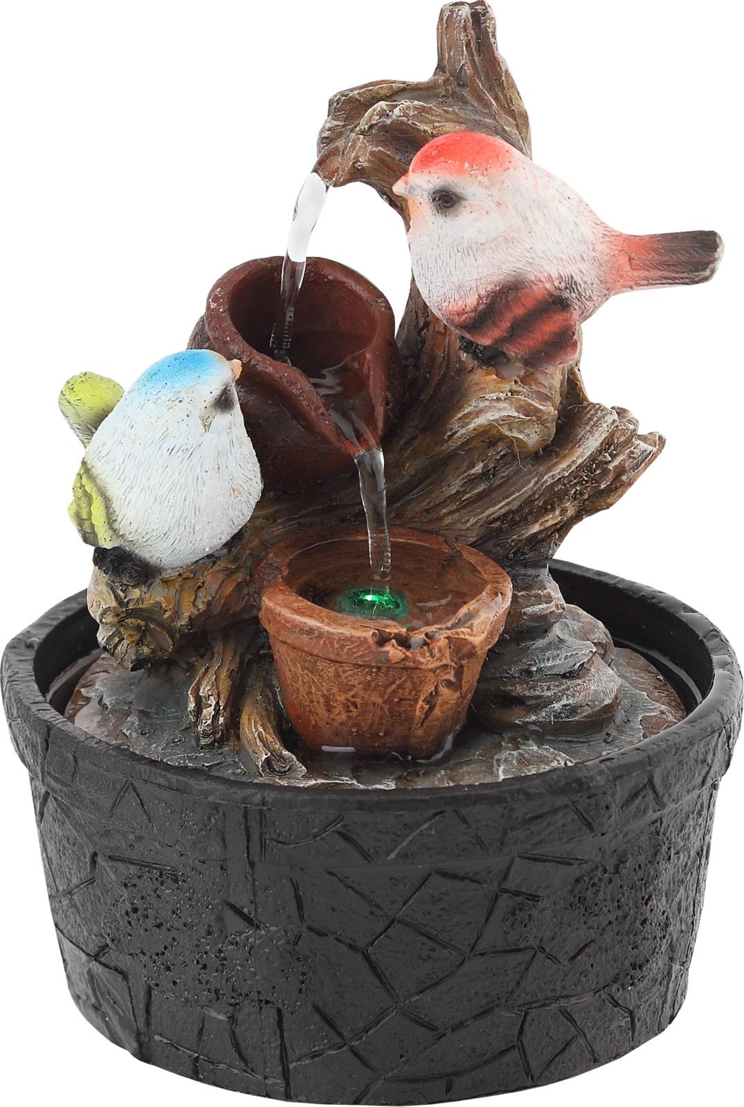 Домашний фонтан Green Apple Птички настольный, с подсветкой фонтан садовый green apple gwxf02930 чаша