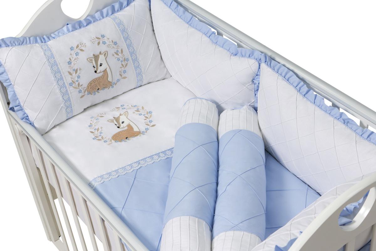 Комплект в кроватку Ma Licorne Bambi с валиками 11 предметов, голубой