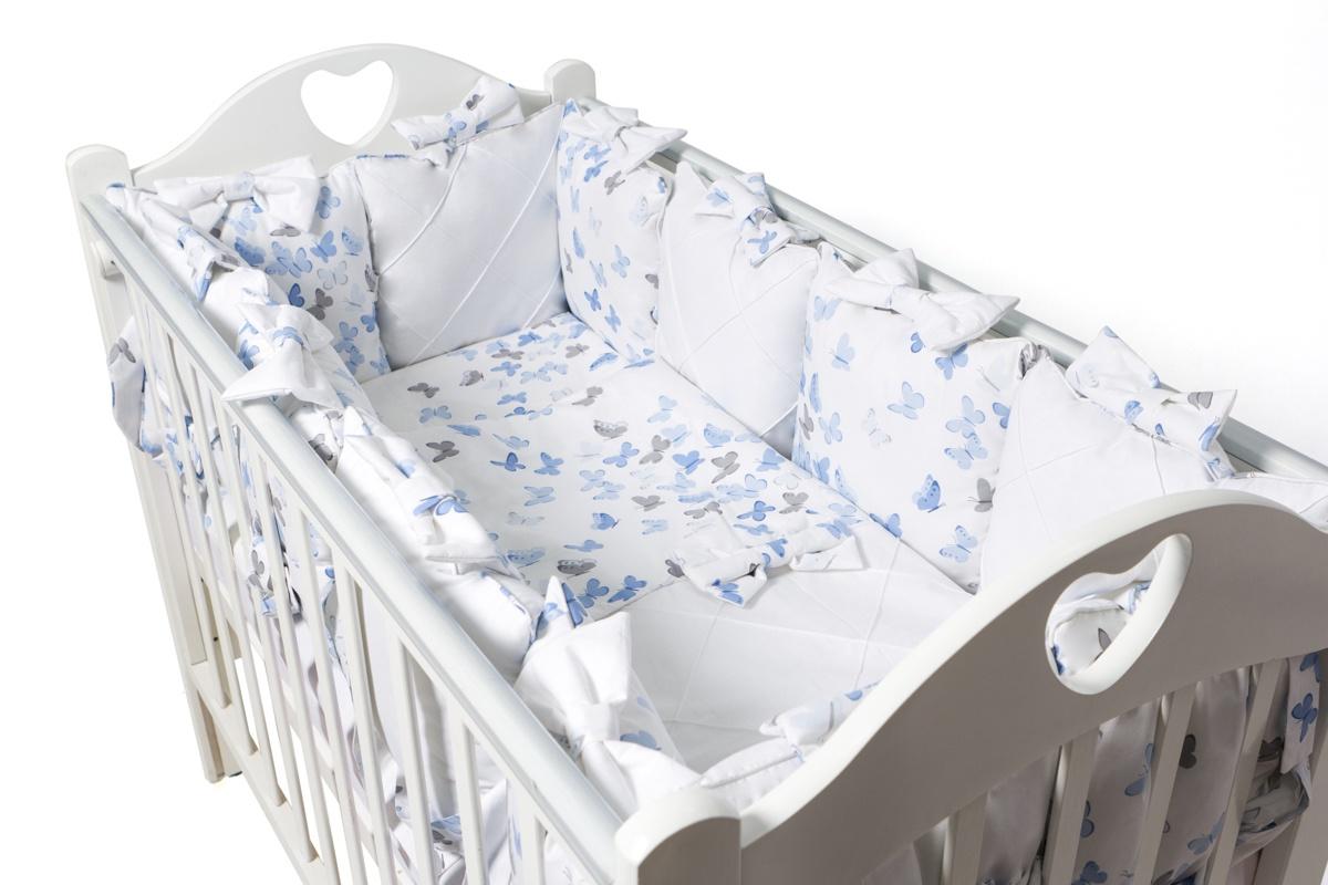 Комплект в кроватку Ma Licorne La Papillon 17 предметов, голубой