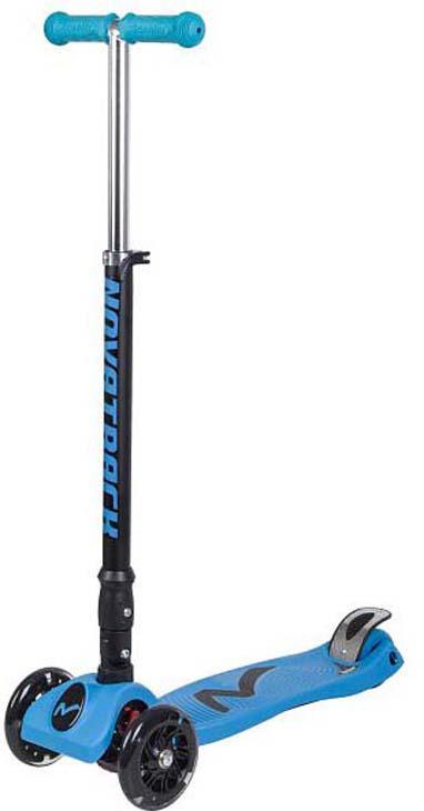 Самокат-кикборд Novatrack Rainbow, детский, 3-колесный, 120F.RAINBOW.BL8, голубой самокат novatrack deft 180mm suspension