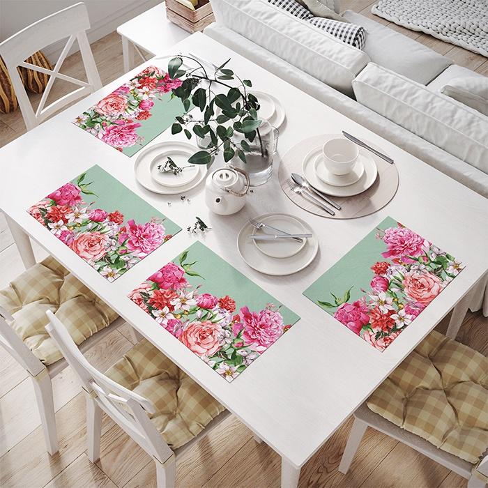 """Салфетка столовая JoyArty np_27547, бирюзовый, розовыйnp_27547Комплектация: 4 сервировочных салфетки размером 32x46 см каждая. Материал: оксфорд, 100% полиэстер. Дизайн: пион, роза, гвоздика. Сервировка стола при помощи текстильных салфеток - это удобно, просто, быстро и красиво. Комплект, состоящий из четырех салфеток, выполнен из прочного, износостойкого материала, который отлично стирается и не требует глажки. Рисунок на салфетки переносится при помощи сублимационной печати. Такой способ позволяет наносить самые разнообразные изображения, используя всю цветовую гамму. Благодаря этому у вас есть огромный выбор принтов. Можно подобрать салфетки к любому стилю, цвету и даже празднику. Например, набор салфеток """"Цветы в подарок""""выполнен в стиле Цветочный. Кстати, комплект сервировочных салфеток - отличный подарок, которому будут рады в любом доме."""