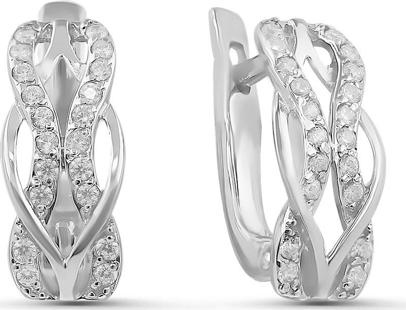 Серьги Серебро России, серебро 925, фианит, 20006-200рСереброСерьги из серебра с фианитами родированные