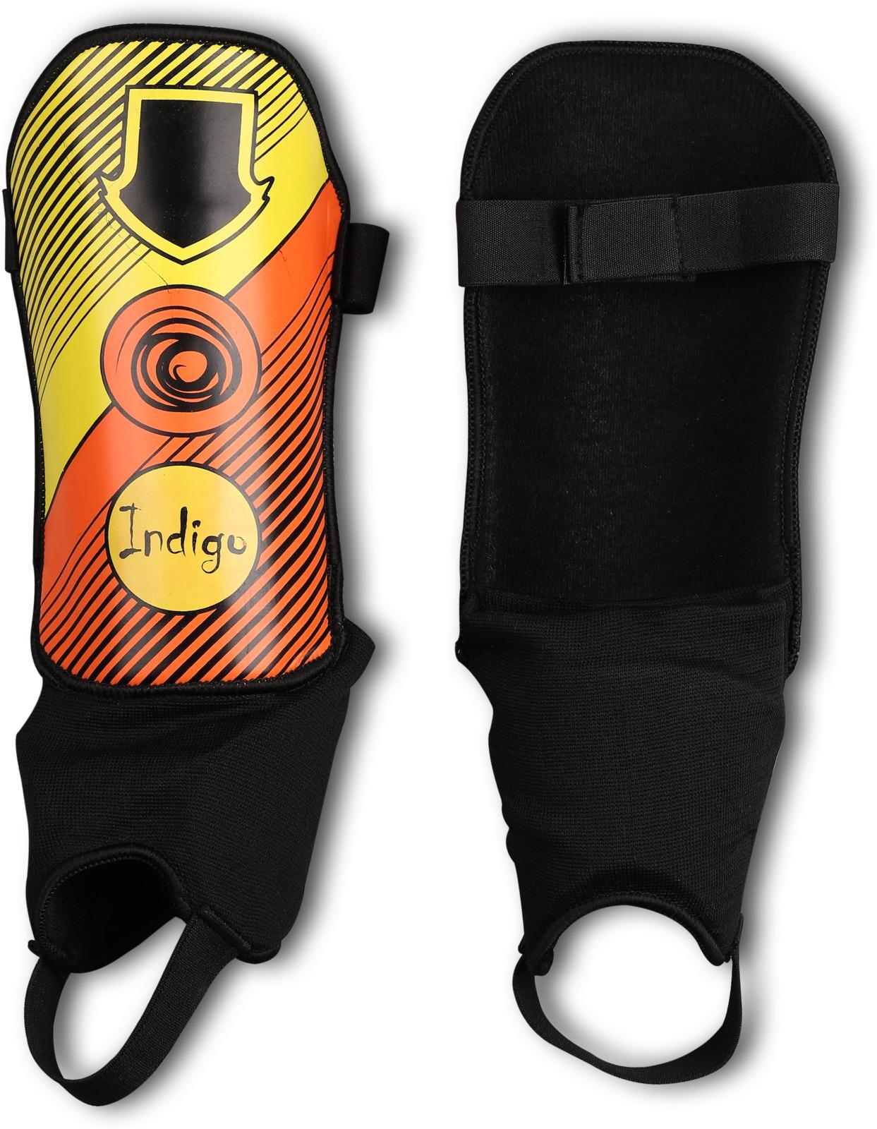 Щитки футбольные Indigo, с защитой щиколотки с дополнительным покрытием, 1250, черный, оранжевый, желтый, размер XS