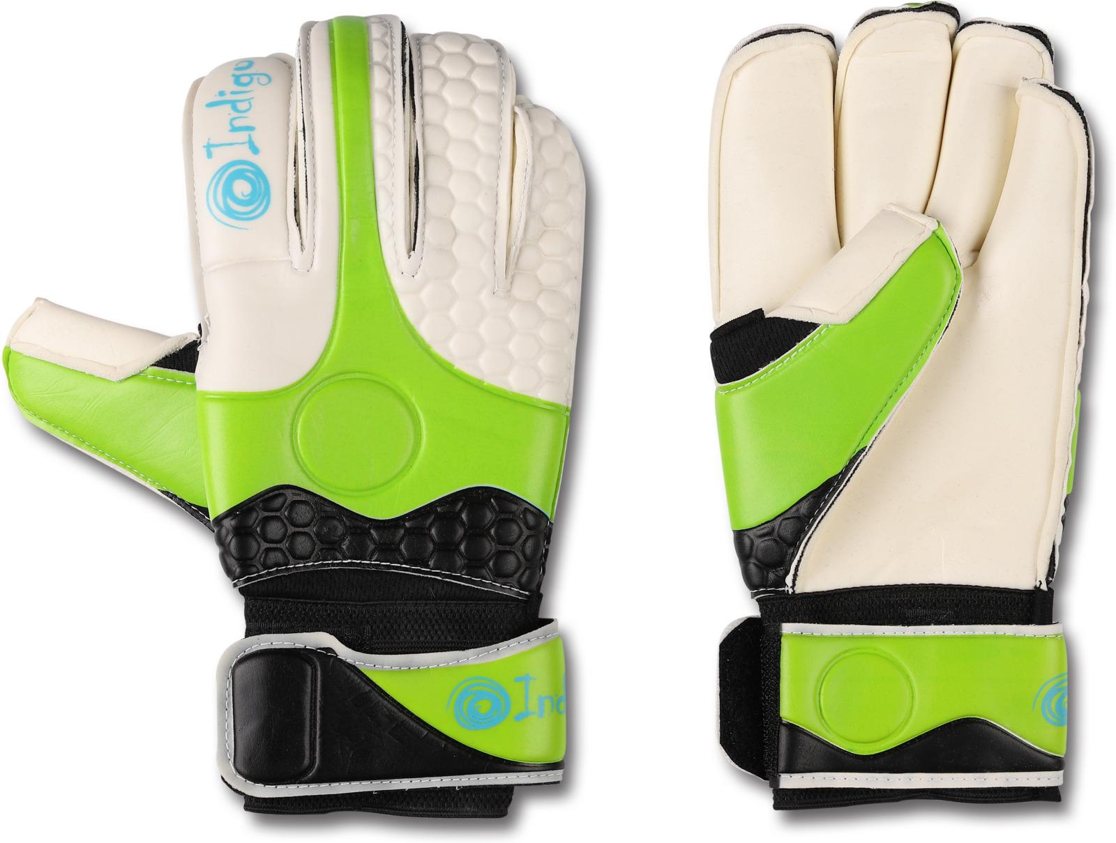 Перчатки вратарские Indigo, 200002, белый, светло-зеленый, черный, размер 9