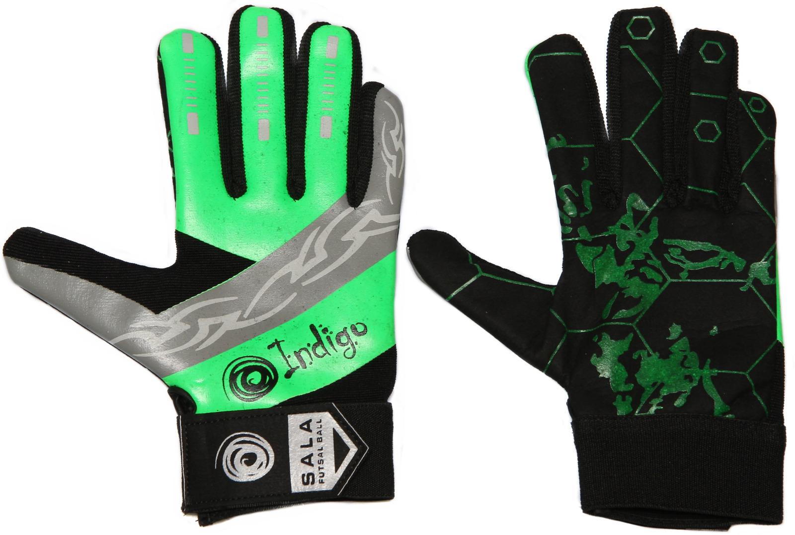 Перчатки вратарские для футзала Indigo, 200022, зеленый, черный, размер 9