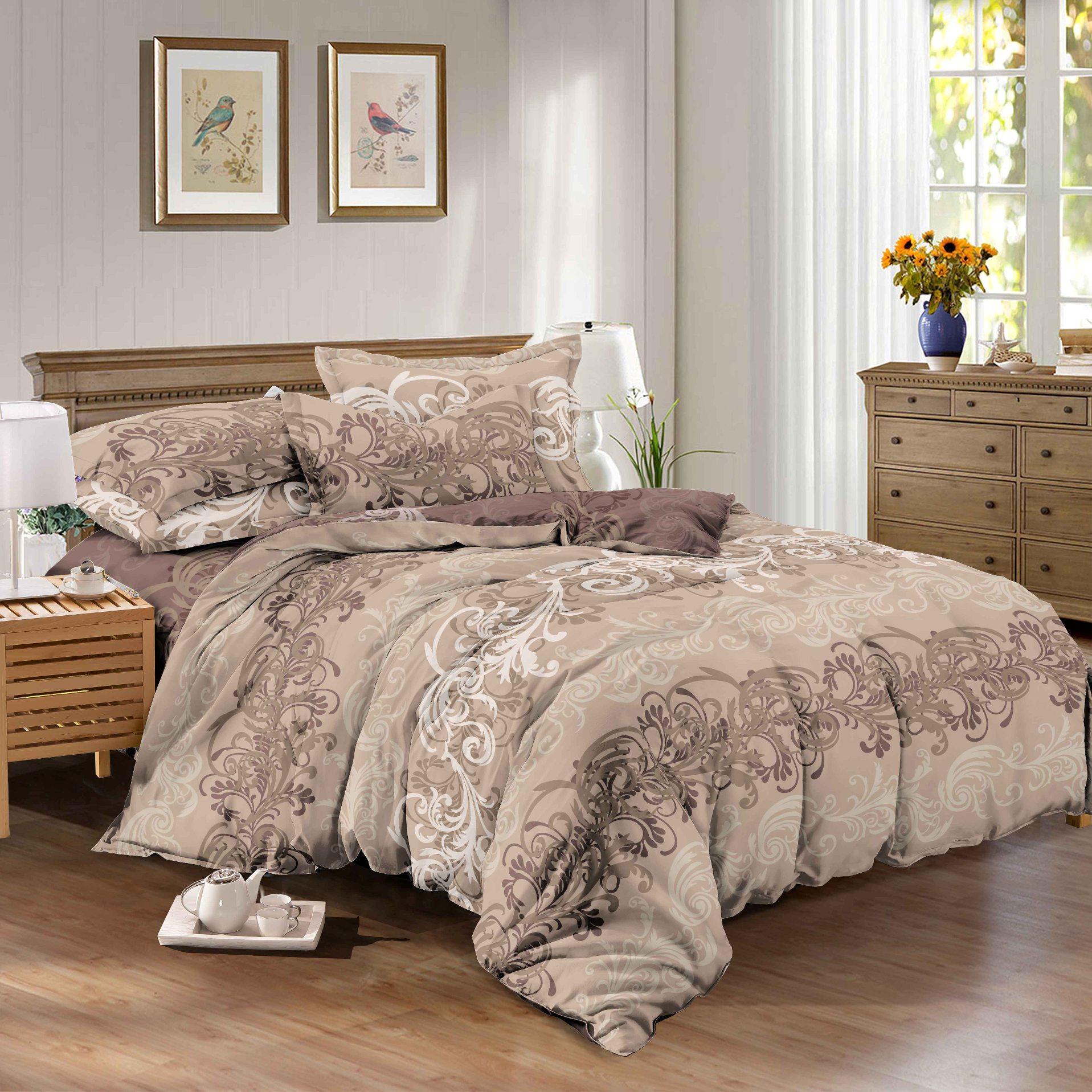 цена Комплект постельного белья SL 06264, темно-бежевый онлайн в 2017 году