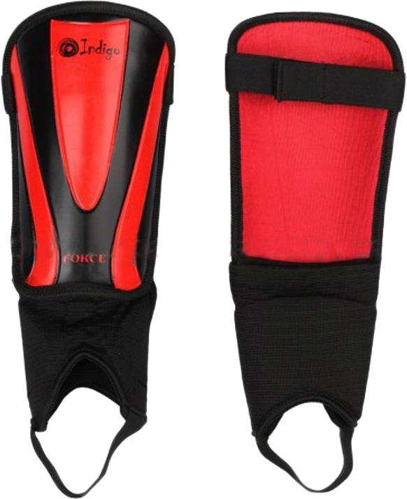 Щитки футбольные Indigo, с защитой щиколотки, 1504, черный, красный, размер M/L
