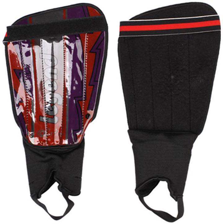 Щитки футбольные Indigo, с защитой щиколотки, 1512, черный, фиолетовый, размер M/L