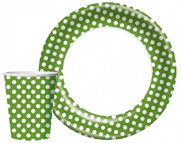 Набор одноразовой посуды BULGAREE GREEN Пикник, зеленый, белый