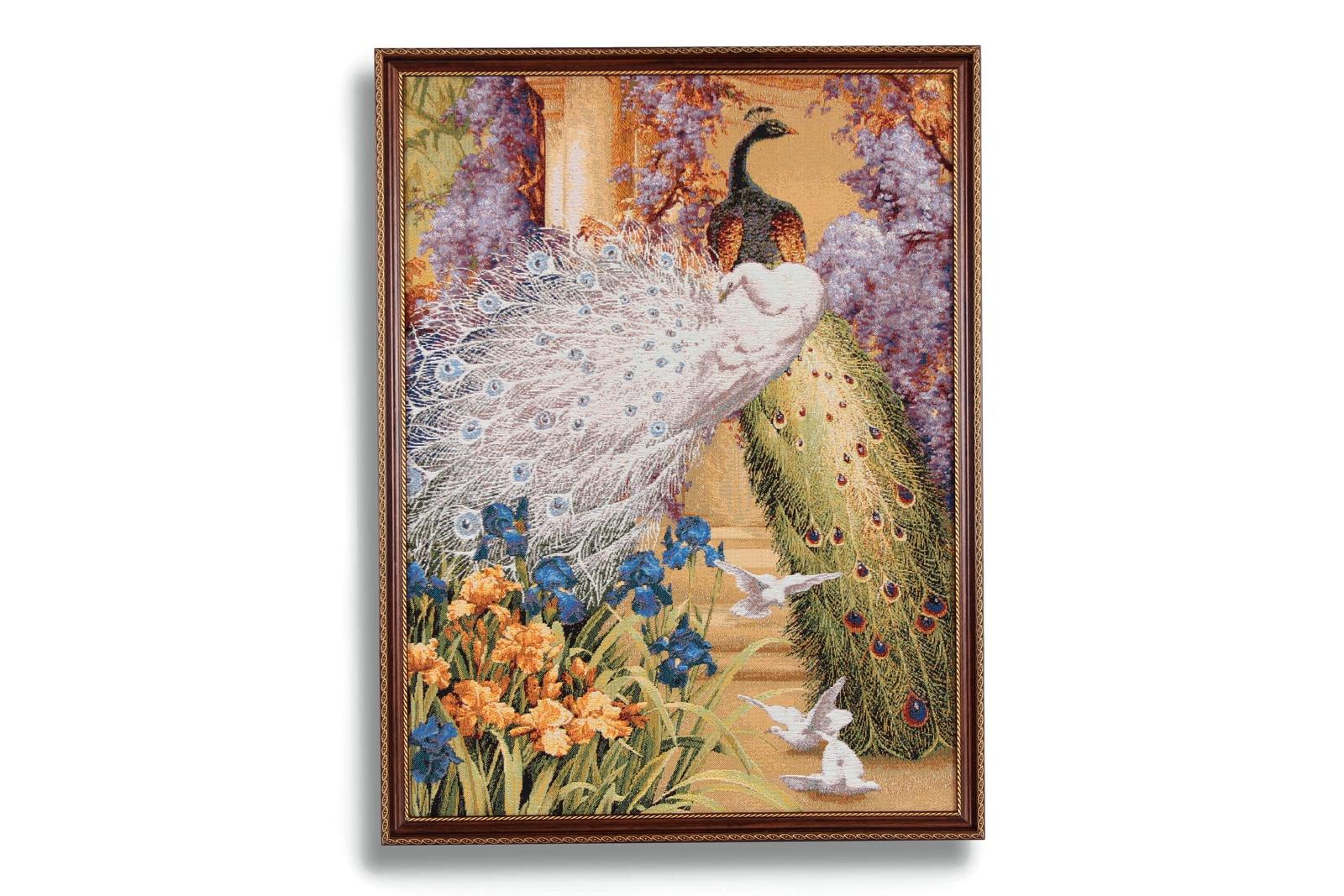 лучшая цена Картина Магазин гобеленов Павлиний дуэт 54*72см, Гобелен