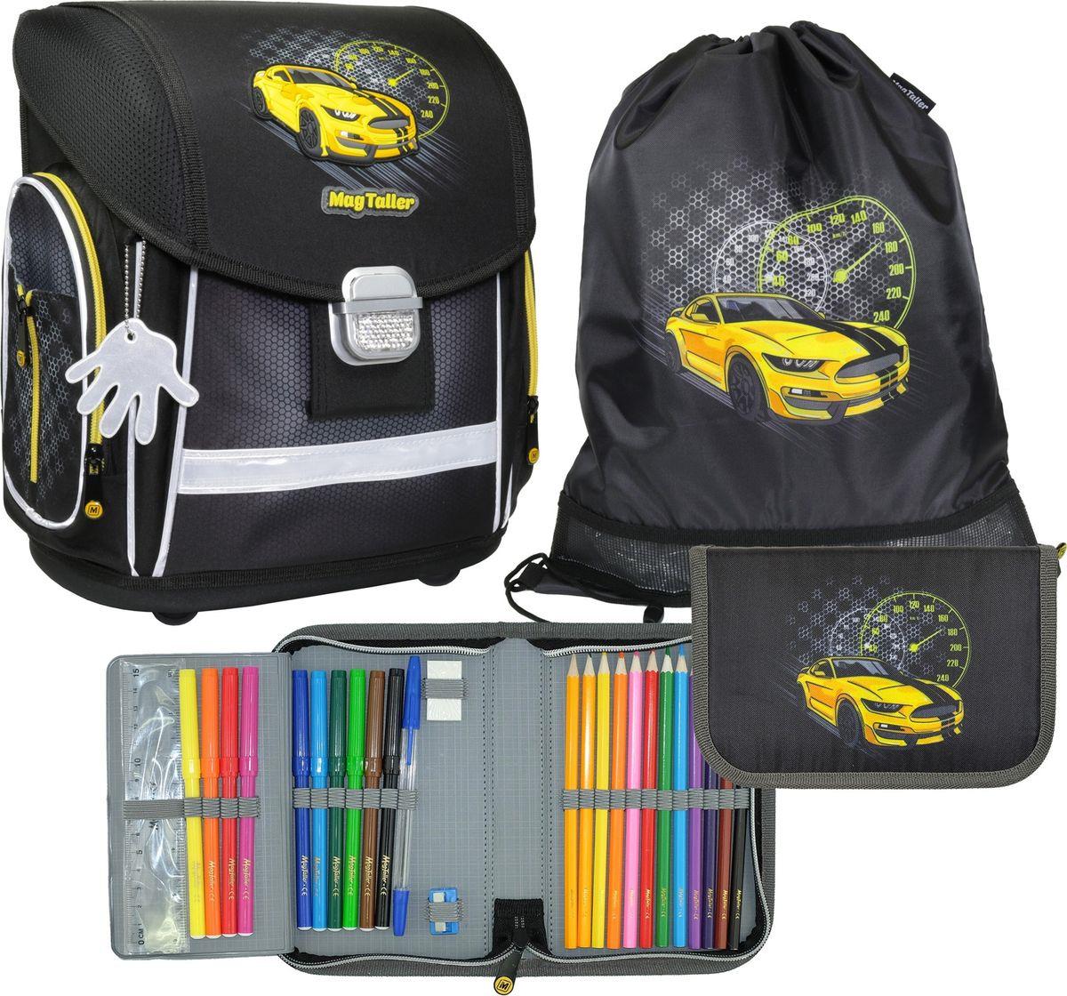 Ранец школьный MagTaller Evo Racing, с наполнением, 21815-06, черный, 37 х 30 х 21 см