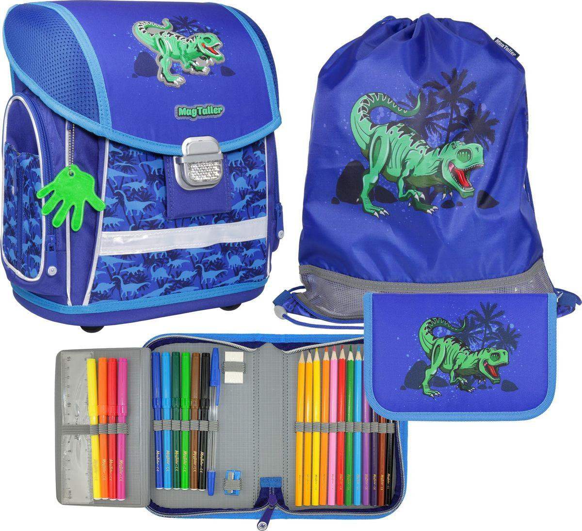 Ранец школьный MagTaller Evo T-Rex, с наполнением, 21815-08, синий, 37 х 30 х 21 см мешок для обуви t rex world