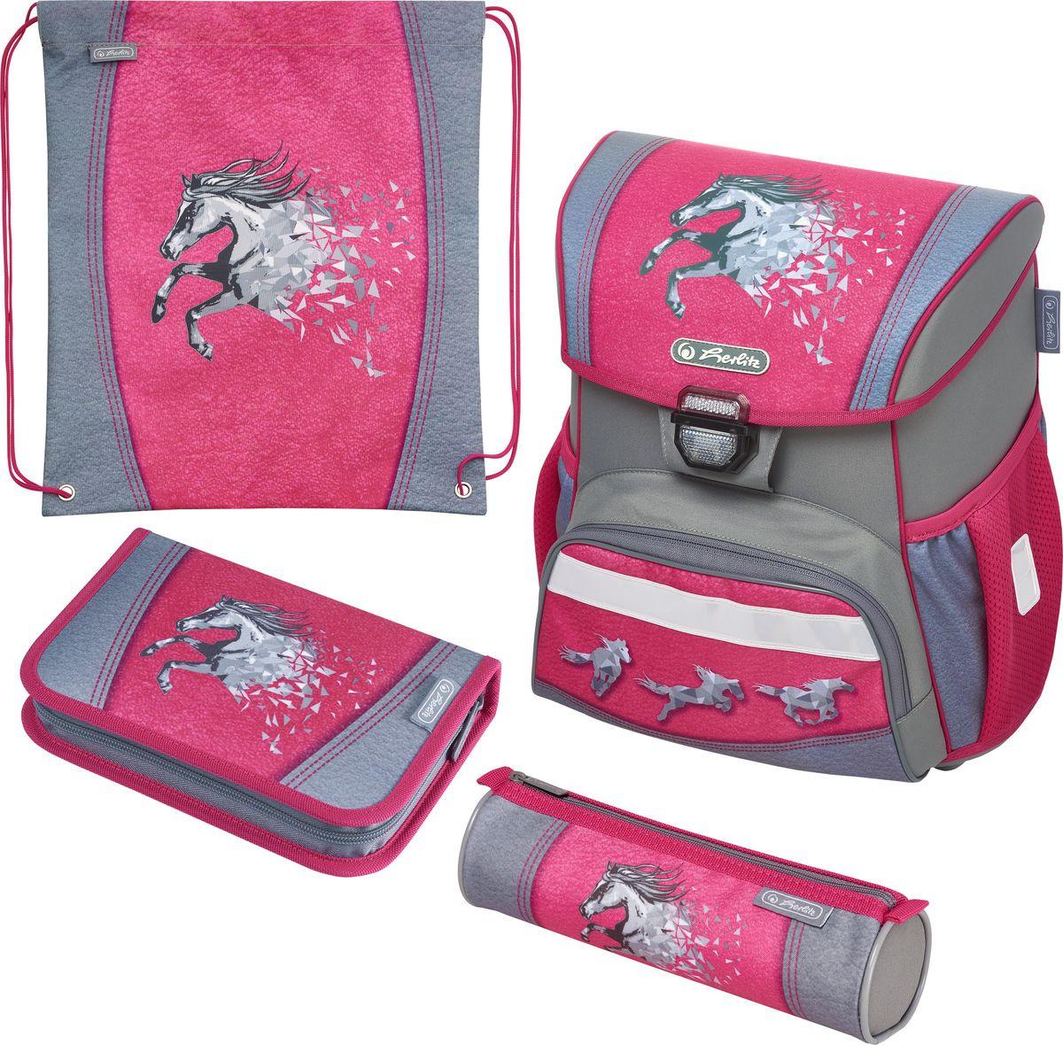 Ранец школьный Herlitz Loop Plus Power Horse, с наполнением, 50020508, розовый, 37 х 31 х 22 см цена и фото