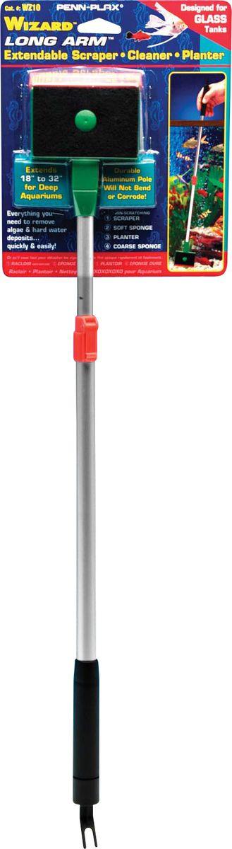 Очиститель стекол Penn-Plax Wizard Pro, WZ10, выдвижная ручка 80 смWZ10Очиститель с мягкой, жесткой губками и скребком на одном конце и инструментом для посадки растений на другом конце. Выдвижная ручка для высоких аквариумов. Для стеклянных аквариумов.