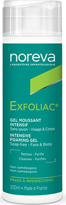Гель для умывания Noreva Exfoliac, интенсивный, пенящийся, 200 мл noreva exfoliac гель очищающий