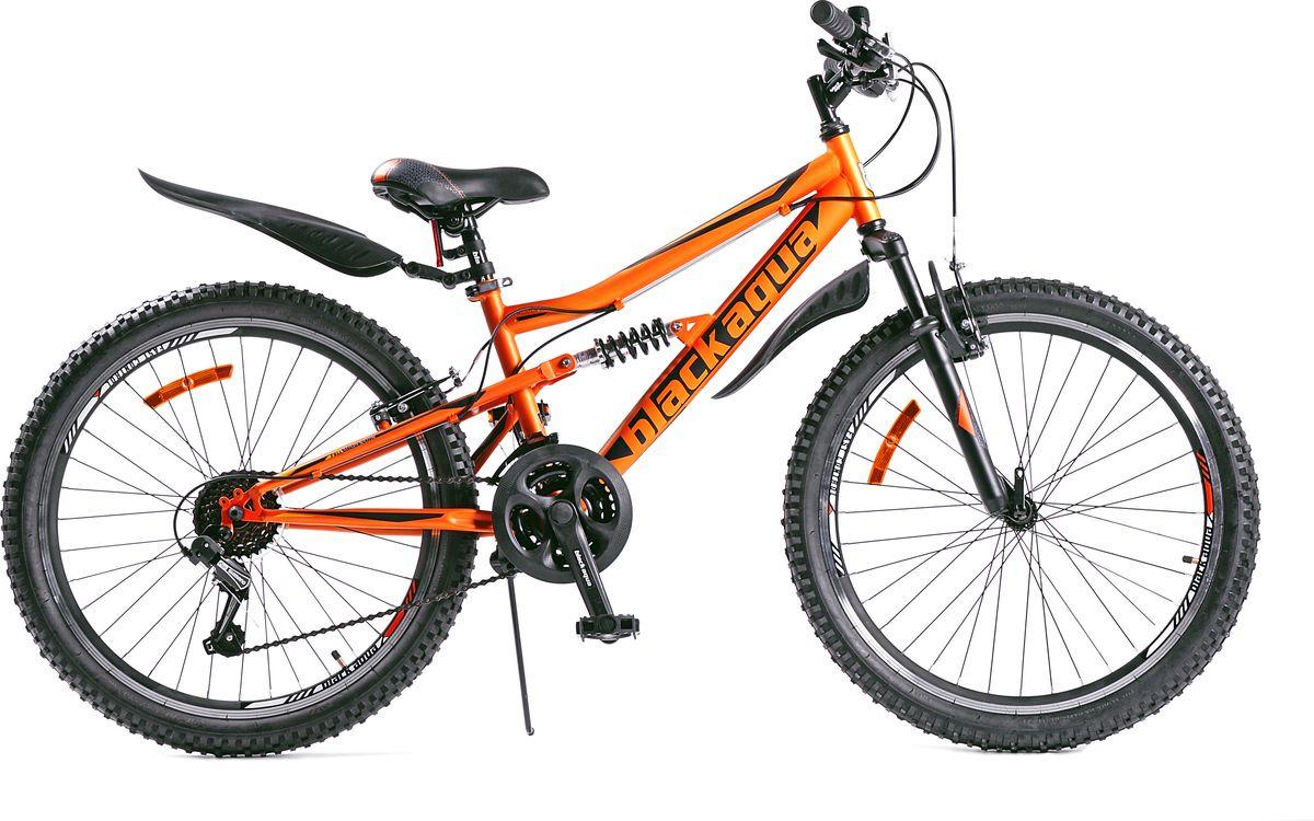 Велосипед Black Aqua Mount 1451 V Matt, оранжевый, черный, колесо 24, рама 14