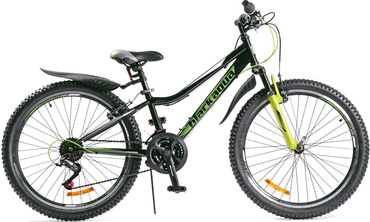 Велосипед Black Aqua Cross 1431 V, черный, зеленый, колесо 24, рама 13