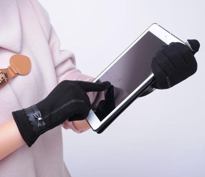 Перчатки No Name лайковые перчатки шерсть сенсорный экран рекс