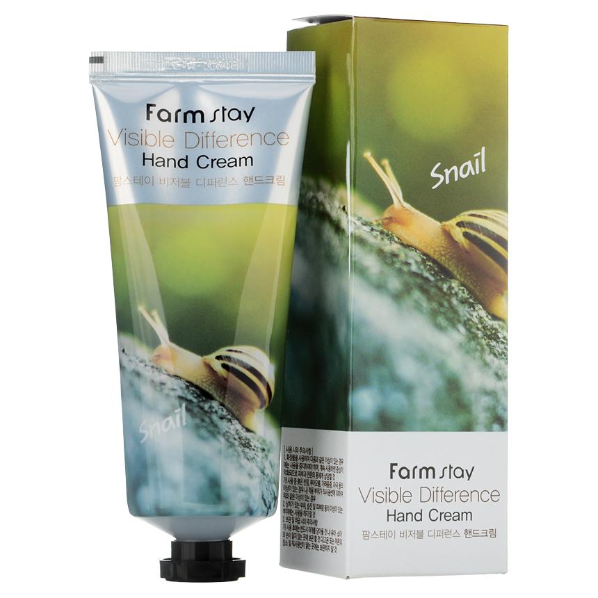 Крем для ухода за кожей Farm Stay Visible Difference Hand Cream Snail8809540510060Крем для рук с экстрактом улитки успокаивает раздраженную кожу, питает огрубевшую кожу, улучшает состояние обезвоженной, шелушащейся и увядающей кожи. Улиточный муцин содержит богатый комплекс полезных для кожи аминокислот, витамины А, С, Е, В6, В12, эластин, хитозан, гликолевую кислоту и фермент протеазу.Крем придаст коже гладкость и мягкость, создаст защитный барьер на поверхности кожи, быстро впитывается, не оставляя липкой пленки. Крем также содержит экстракты алоэ, камелии китайской, грейпфрута. Подходит для любого типа кожи.1
