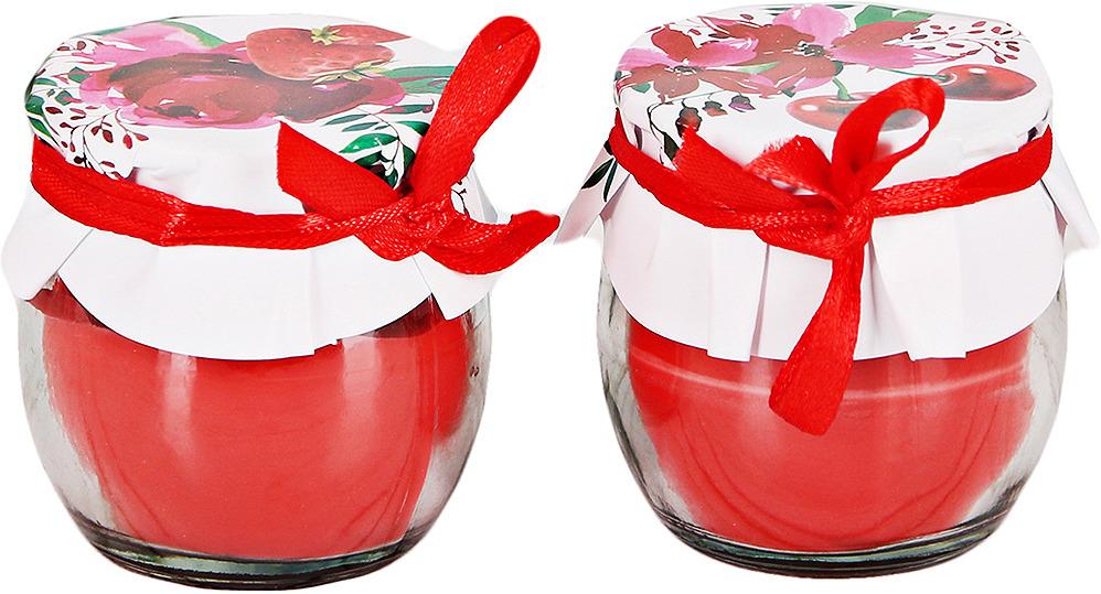 Набор ароматизированных свечей Летнего настроения, в баночке, красный, высота 7 см, 2 шт