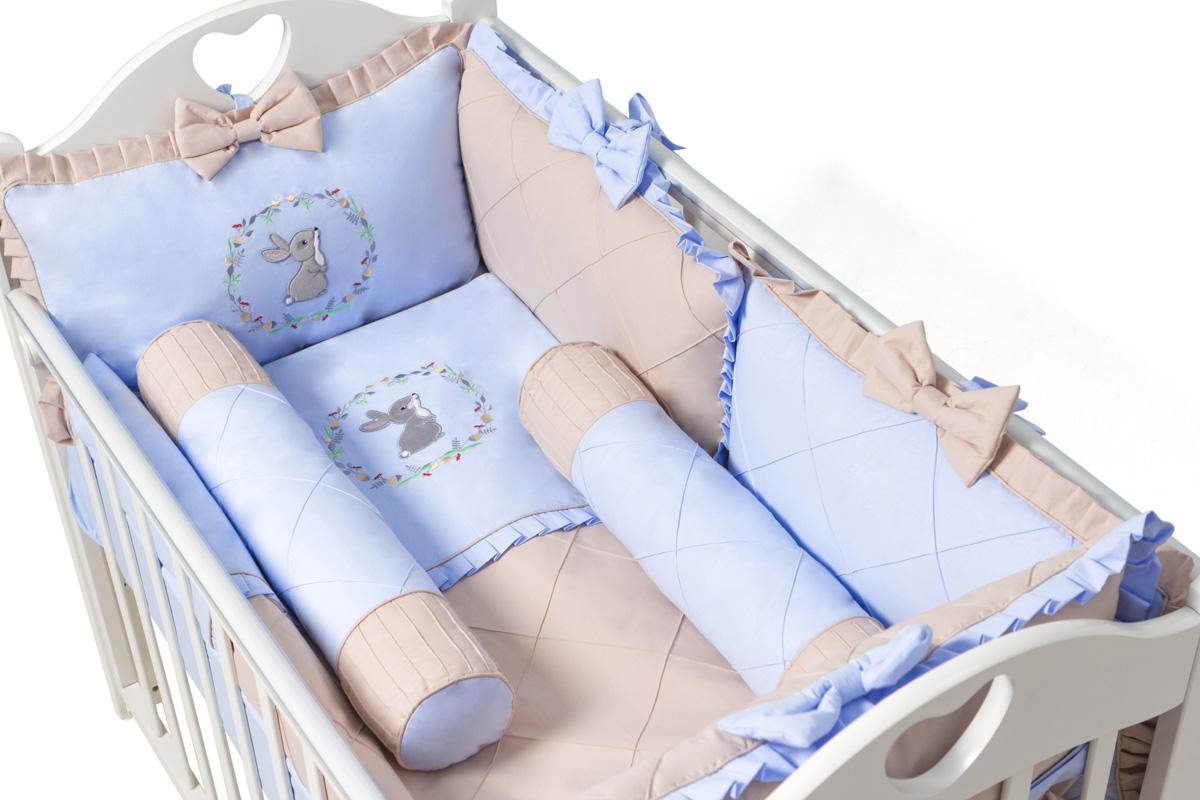 Комплект в кроватку Ma Licorne Mon Lappin с валиками 11 предметов, голубой