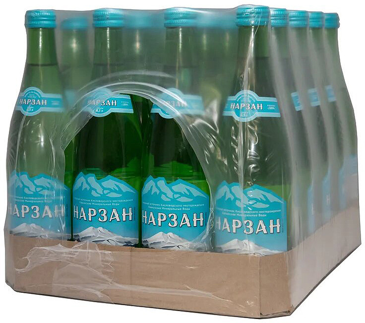 Вода минеральная газированная Нарзан, стекло, 20 шт по 0,5 л нарзан вода минеральная нарзан натуральной газации 1 л
