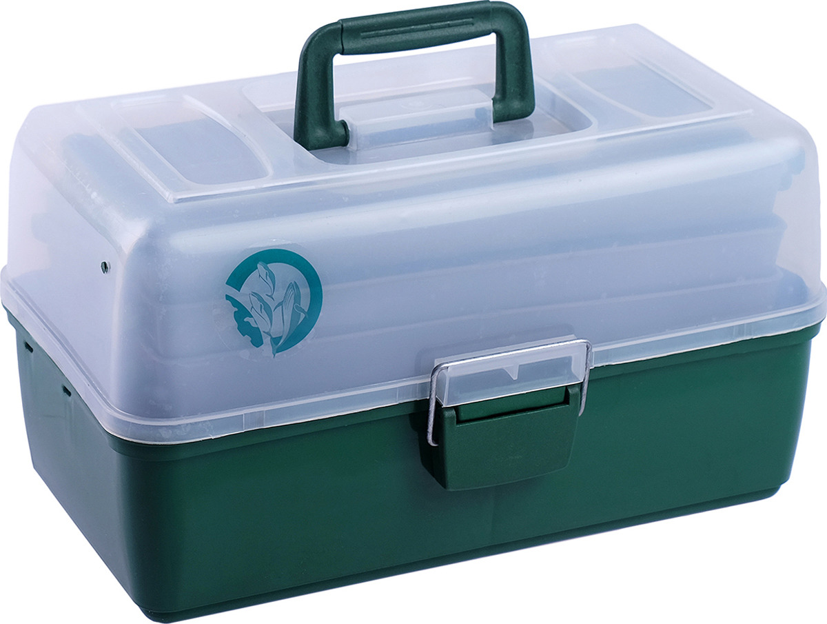 Ящик рыболова Три кита, 1048117, зеленый, 36 х 20 х 23 см