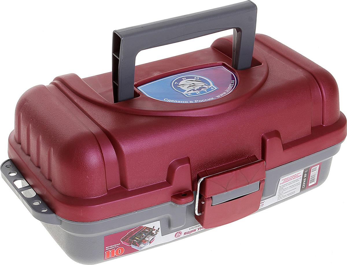 Ящик рыболова Три кита ЯР-1, 1048120, серый, красный, 36 х 19 х 15 см